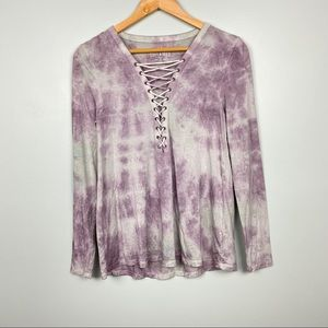 American Eagle Soft & Sexy Tie Dye Lace Up Top